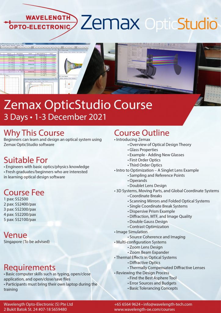 Zemax OpticStudio Course Flyer 2021